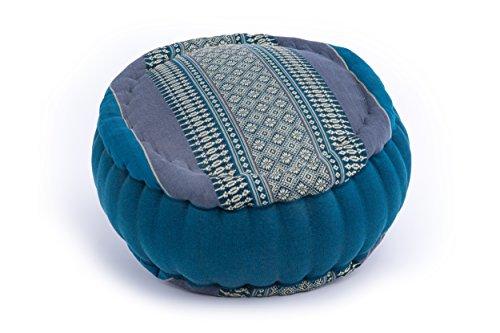 Handelsturm Zafu Meditationskissen mit Füllung aus Kapok 34 x 15 buntes Kissen für Sitzmeditation Lotussitz oder Zen Meditation (Thaimuster hellblau)