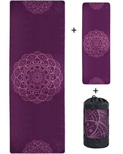 VIVOTE Microfaser Yoga Handtücher Set, Yogamatte Handtuch 183 x 66 cm, Handtuch 91 x 30 cm, Ecktaschen...
