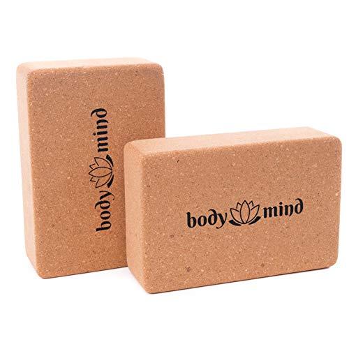 Body & Mind Yoga-Block 2er Set aus Kork 100% Natur für Yoga, Pilates, Meditation & Fitness - Yoga-Klotz für...