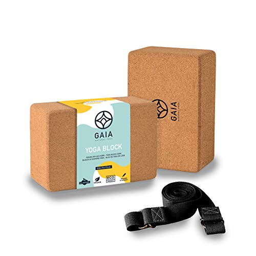 Gaia - Natural Yoga Yoga Block 2er Set - Premium Yoga Set mit Gurt, griffiger Yogablock Kork für Yoga und Pilates, 100% Naturkork