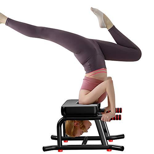 Yoga Kopfstandhocker, Yoga Hocker Stabiler Yoga Kopfstandstuhl mit PU-Kissen und verlängertem Handlauf, zum Üben von Kopfstand, Schulterstand und Krafttraining, geeignet für Home Gym Yoga Studio.
