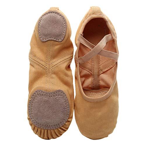 Milisten 1 Paar Ballettschuhe Rutschfeste Vollsohlen-Stretch-Ballettschuhe Professionelle Yoga-Tanzübungsschuhe aus Leder für Erwachsene - Größe 40 (Kamel)