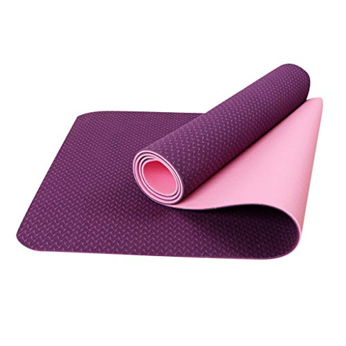 Yogamatte Tragbar Pilatesmatte Gymnastikmatte Yogamatte rutschfest aus TPE Übungsmatte Sportmatte für Yoga Pilates Fitness 183 x 61 x 0,6cm