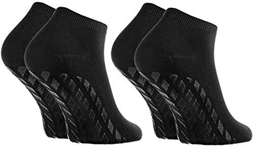 Rainbow Socks - Damen Herren Sneaker Bambus Stoppersocken - 2 Paar - Schwarz - Größen 36-38