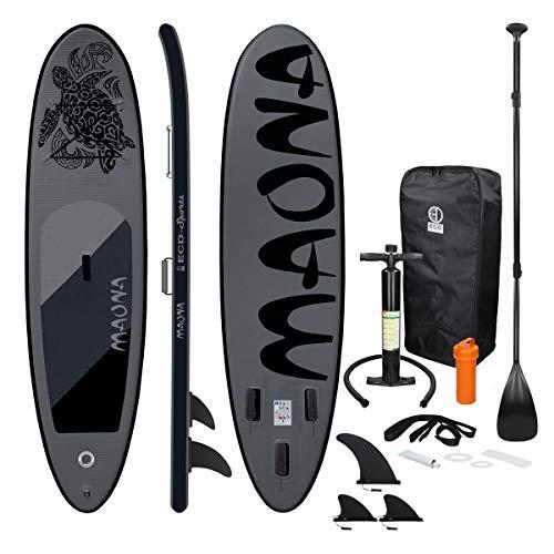 ECD Germany Aufblasbares Stand Up Paddle Board Maona | 308 x 76 x 10 cm | Schwarz | PVC | bis 120kg | Pumpe...