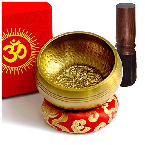 TARORO Tibetische Klangschale Set-Große aus Nepal-12cm Singing Bowl Handgemachtes mit Klöppel und...