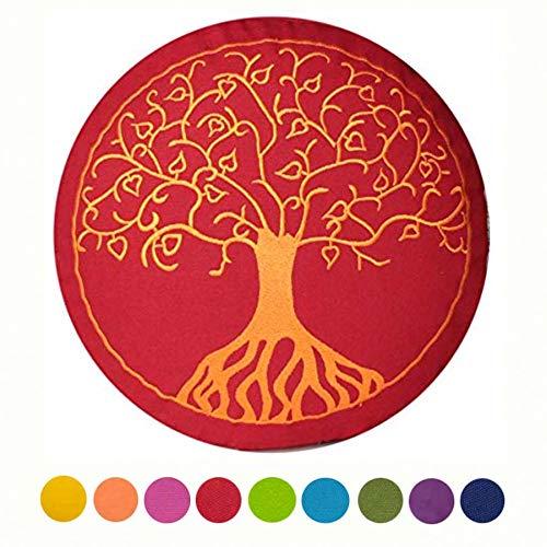 maylow - Yoga mit Herz ® Yogakissen Meditationskissen mit Stickerei ' Baum des Lebens ' Bezug und Inlett 100%...