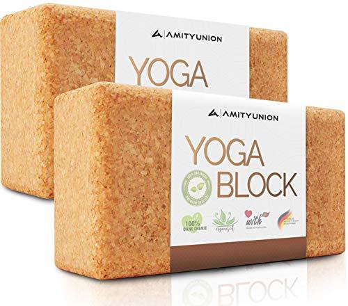 Yoga Block 2er Set Kork - EXTRA Yoga HEFT im Set - 100% Natur Hatha Klotz Nachhaltig - Ideal auch für Anfänger, Meditation Pilates, Training Zubehör Fitness Regeneration, Hilfsmittel Zwei Blöcke 75 mm