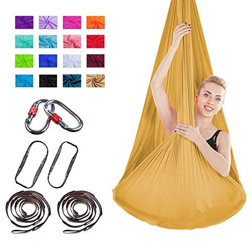 Viktion Authentische 4m*2.8m Anti-Gravity-Yoga Set Aerial Yoga Tuch Hängematte Aerial Yogatuch (Gold)