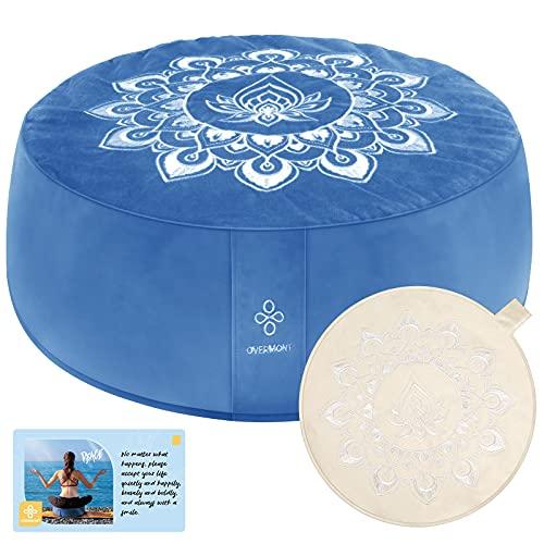OVERMONT Yogakissen Meditationskissen Yoga Sitzkissen Augenkissen mit waschbarem Bezug aus Baumwolle Blau