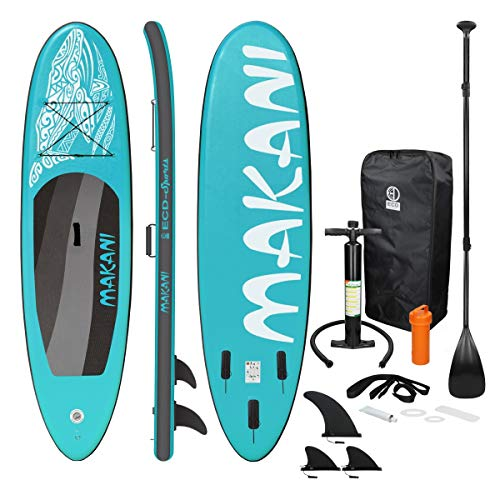 ECD Germany Aufblasbares Stand Up Paddle Board Makani | 320 x 82 x 15 cm | Türkis | PVC | bis 150 kg | Pumpe...