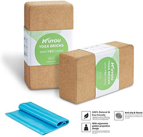 Yoga Blöcke (2 Kork) Plus Gurt Cork Yoga Bricks Natur Umweltfreundlich 22,9 x 15,2 x 7,6 cm Yoga Blocks...