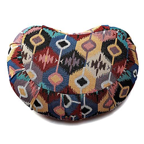 SFGSA Yogakissen Halbmond-Kissen mit Bio-Dinkelspelz Maße: 40 x 28 x 12 cm Rondokissen Meditiationsunterlage Hoher Sitz Komfort,1