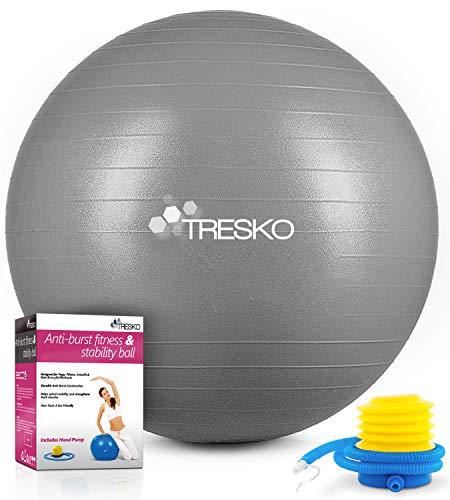 TRESKO Gymnastikball mit GRATIS Übungsposter inkl. Luftpumpe - Yogaball BPA-Frei | Sitzball Büro | Anti-Burst | 300 kg,Grau,65cm (für Körpergröße 155 - 175cm)