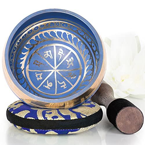 Silent Mind tibetische Klangschale Set ~ Blaue Design ~ mit hochwertigem Holz Klöppel und Himalaya Kissen ~...