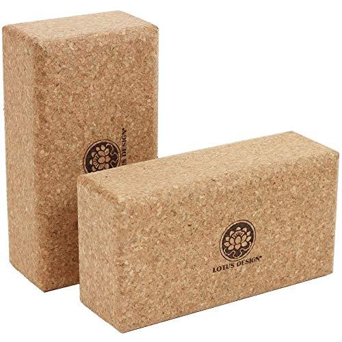 Lotus Design Yoga Block Kork, 100% Naturkork Yoga Blöcke für Anfänger u. Fortschrittene, Yogazubehör Yoga-Block Kork für Yoga und Pilates – Yogaklotz mit super Grip, ökologisch hergestellt in Portugal