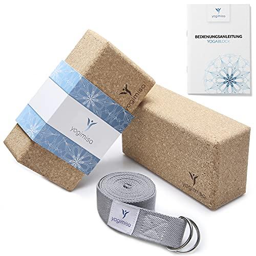yogimisa Yoga Block 2er Set inkl. Anleitung + Übungsbeispielen - Yogablock aus Kork inkl. Yogagurt - Yoga Klötze für Yoga & Pilates hergestellt in EU