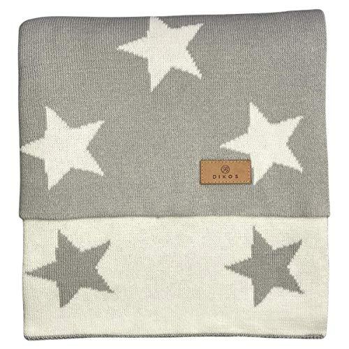 Babydecke Baumwolle Sterne grau - aus 100% GOTS BIO Baumwolle (kbA kontrolliert biologischer Anbau) Mädchen/Junge Strickdecke Baby Decke Baumwolldecke Kinderwagen Kuscheldecke Geschenk zur Geburt
