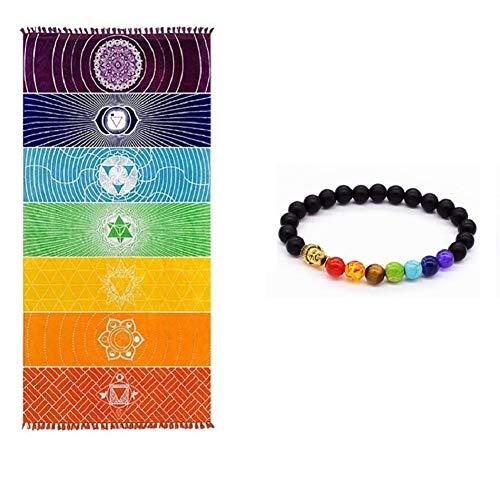 Dick Platz Böhmen Mandala Yoga Decke reine Baumwolle 7 Chakra Yoga Handtuch mit Quasten Regenbogen T (59 *...