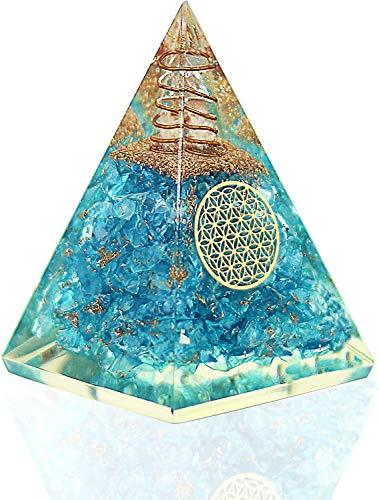 Aquamarin ORGONE Nubian-Pyramide mit Kupferspule, klare Quarzkristalle – Edelstein Orgonit Kristall für Reiki-Heilung, Hals-Chakra – Stein des Mutes Stress Entspannung – Yoga-Meditationsset