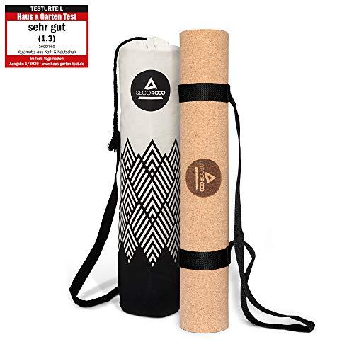 Secoroco Yogamatte Kork - getestet mit SEHR GUT - 4 mm Stärke - vegan & nachhaltig - Yoga Matte aus Kautschuk und Kork inklusive Yogatasch