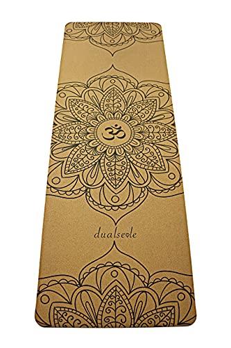 Eco Yogamatte aus Kork und Naturkautschuk, schadstofffrei, nachhaltige Sportmatte, Korkmatte mit Tragegurt, Gymnastikmatte rutschfest, robust, breit und dick (183 x 68 x 0,5 cm) (Mandala)