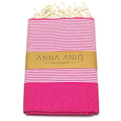 ANNA ANIQ Fouta Hamamtuch Saunatuch XXL Extra Groß 200 x 100cm - 100% gekämmte Baumwolle aus Tunesien als...