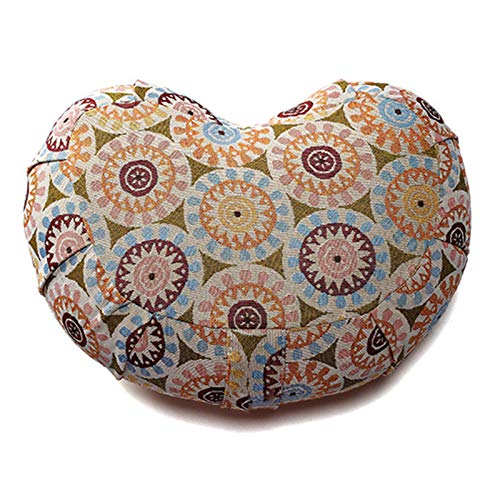 SFGSA Yogakissen Halbmond-Kissen mit Bio-Dinkelspelz ideal als Meditationskissen Rondokissen Meditiationsunterlage Hoher Sitz Komfort,3