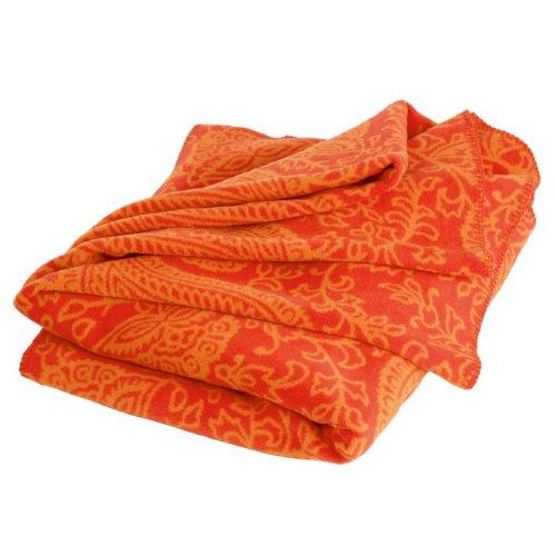 Paisley Kuscheldecke, orange, 150 x 200 cm, 60% Baumwolle, Yoga-Decke für Shavasana, Sofadecke, Überwurf, Tagesdecke