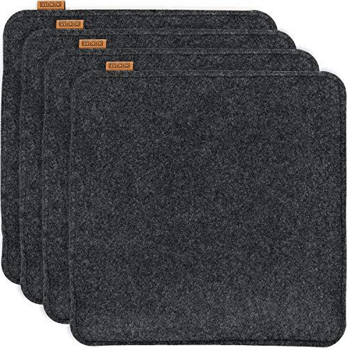 Miqio® Design Sitzkissen Rechteckig aus Filz 35x35 cm | 4er Set | Waschbare Stuhlkissen rutschfest | Gemütliche Sitzauflage für Bank und Stuhl | Anthrazit/Dunkelgrau