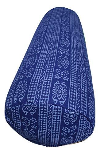 Tvamm-Lifestyle Yoga-Bolster Special, 65 x Ø 22 cm, Buchweizenschalen-gefüllt (Blau neu)
