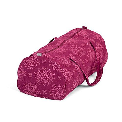 Bodhi Hot Yoga Bag, Maharaja Collection, Berry mit Lotus Print, Yogatasche aus Baumwolle mit wasserfestem...