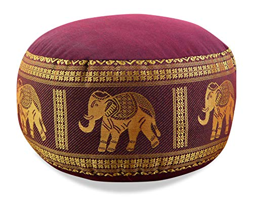 livasia Kapok Zafukissen, Sitzkissen, Yogakissen, Bodensitzkissen, Meditationskissen (rot-Elefanten)