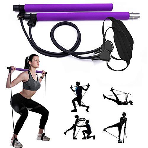 Gikersy Pilates-Stangen-Set, mit Widerstandsband, tragbare Yoga-Stange, mit Fußschlaufe, für Sport, Fitness,...