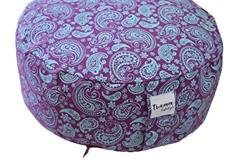 Tvamm Lifestyle Rund 7 Chakra Meditationskissen (Zafu) Buchweizenschalen, Ø 36 cm x 15 cm, Bezug und Inlett 100% Baumwolle, Bezug und Inlett maschinenwaschbar bis 30º C (lila & Blau)