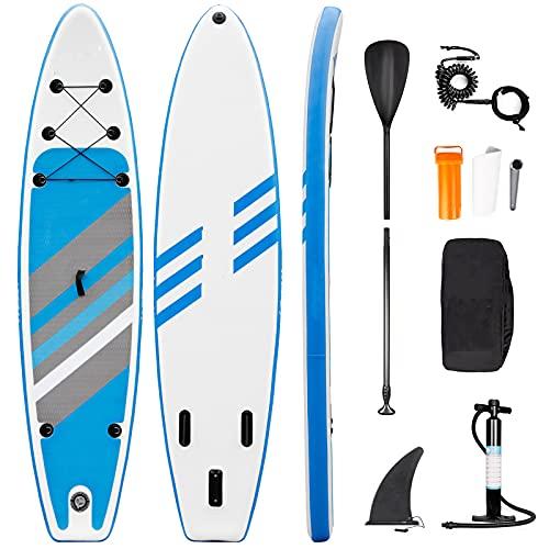 Amzdal Stand Up Paddle Board 305 x 76 x 15cm, Aufblasbares ISUP Board Set, 6 Zoll Dicke Surfbrett mit...