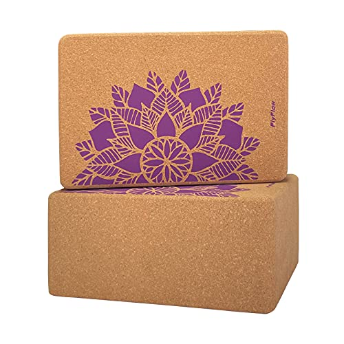FlyFlow Kork-Yoga-Blöcke, 2 Stück, natürlich und umweltfreundlich, Übungsblock, 22,9 x 15,2 x 10,2 cm, für Yoga, Pilates und Balance-Training (lila)