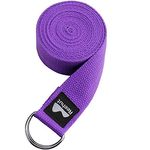 Reehut Yogagurt Baumwolle mit stabilem Verschluss aus 2 verstellbaren D-Ringen, Langer Yoga Gurt Band Zubehör...