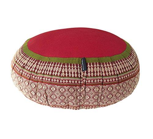 Zafu Yoga Meditationskissen mit Bezug aus Baumwolle und organischer Kapok-Füllung Green, Burgundy