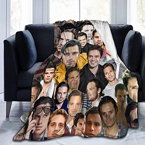 Sebastian Stan Bucky Barnes Kuscheldecke, weich und bequem, warm, flauschig, Plüschdecke, Yoga-Decke, Stranddecke, Picknick-Decken für Sofa, Bett, Camping, Reisen