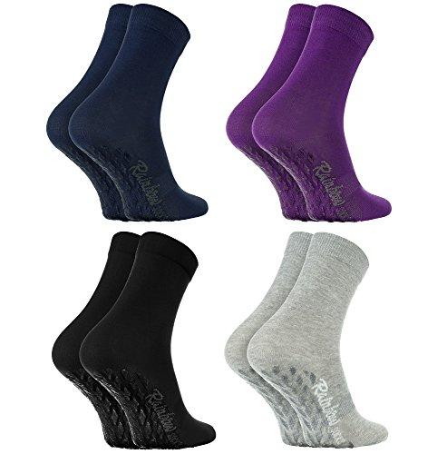 Rainbow Socks - Damen Herren Bunte Baumwolle Antirutsch Socken ABS - 4 Paar - Schwarz Lila Grau Blau -...