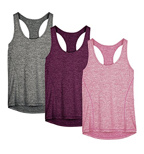 icyzone Damen Sporttop Yoga Tank Top Ringerrücken Oberteil Laufen Fitness Funktions Shirt (Charcoal/Red...