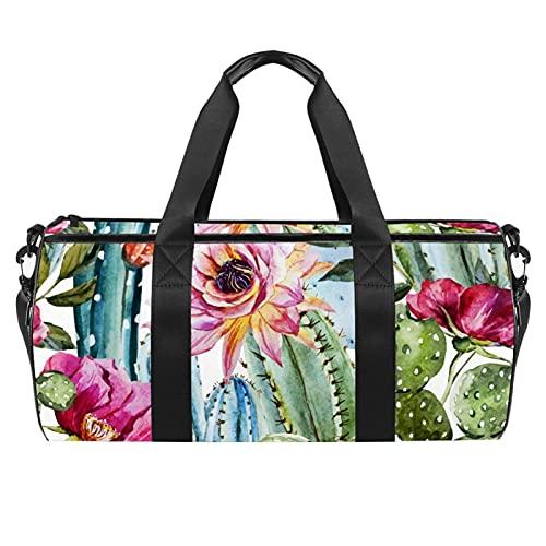 Große Reisetasche für den Strand, Sport, Fitnessstudio, Übernachtung, Duffle, Blumen, Kaktus, tropischer Druck, Schultertasche mit trockenem Nassfach