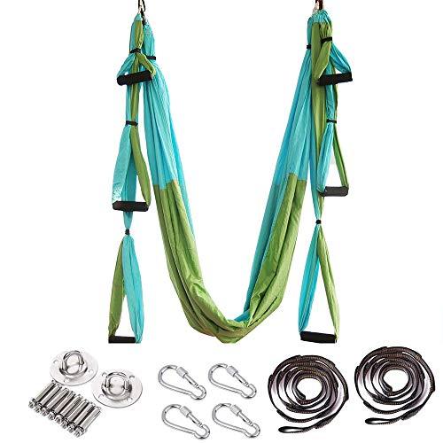 ARNTY Yoga Hängematte Set Aerial,Aerial Yogatuch,Aerial Yoga Hammock Swing mit Tragetasche und Verlängerungsgurten,Trapez Sling (Blau&Grün)