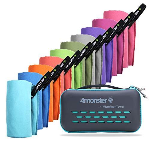 4Monster Mikrofaser Handtücher in 10 Farben, Schnelltrocknendes Sporthandtuch Saugfähig, Ultra Leichtes...