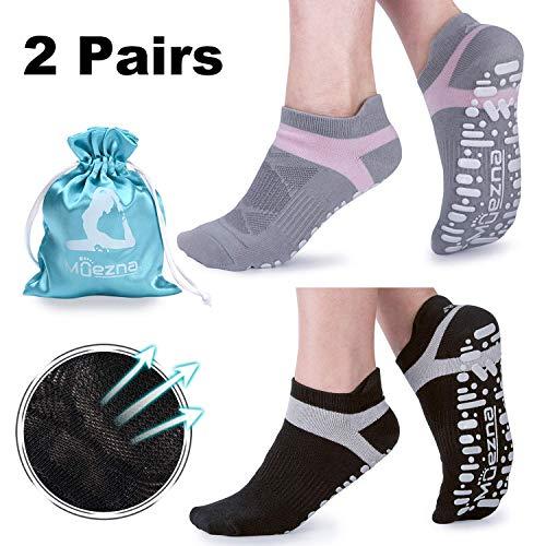 Muezna Yoga Socken Damen Frauen Mädchen rutschfest Atmungsaktiv Ideal für Yoga Pilates Tanz Fitness Sport...