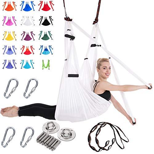 Viktion 2.5m*1.5m Aerial Yoga Tuch 6 Griffe Anti-Gravity-Yoga Hängematte Set rutschfest Yoga Swing Yoga Schaukel Tragend bis zu 200kg (Weiß)