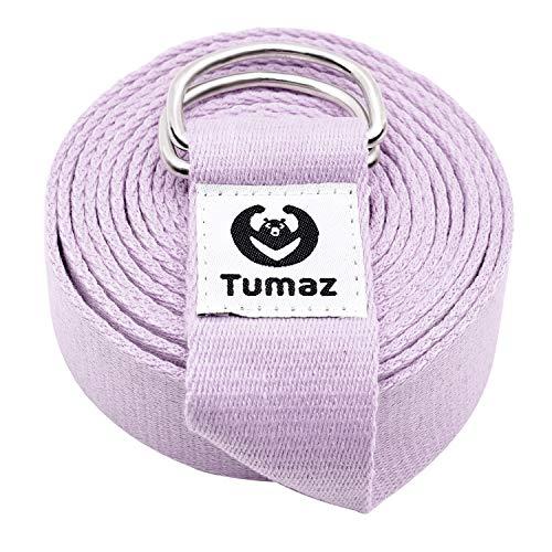 Tumaz Yoga Gurt/Yoga Strap [15+ Farben, 180/240/300 cm] mit Extra Sicherer, Einstellbarer D-Ring-Schnalle,...