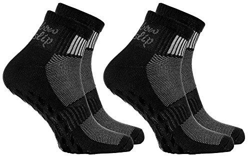 Rainbow Socks - Damen Herren Sneaker Baumwolle Antirutsch Sport Stoppersocken - 2 Paar - Schwarz - Größen...