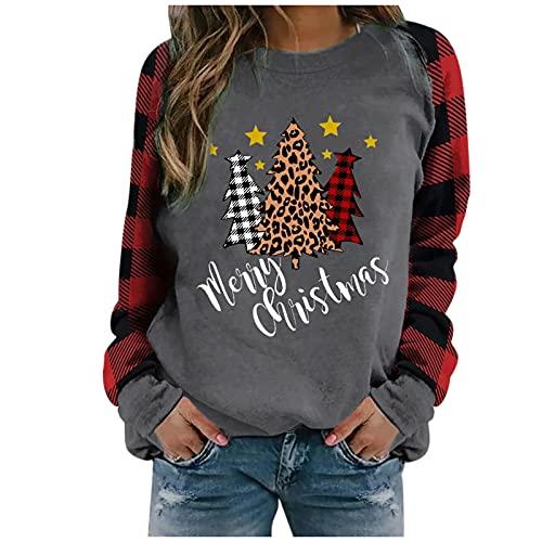 Damen Sweatshirt Weihnachten Pullover Schneemann Schneeflocke Drucken T Shirt Herbst Winter Pulli Langarm Rundhals Weihnachtspullover Bluse Oberteile Lockere Täglich Sport Tops